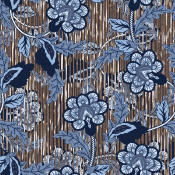 Blue Ethnic Flowers