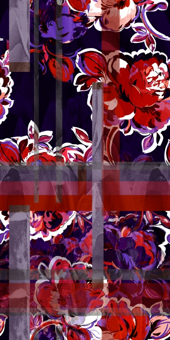 Hand drawn abstract flowers and bold stripes-RED