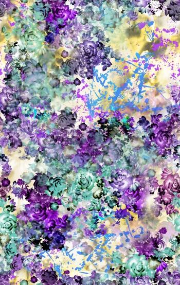 Digitally created purple floral design.