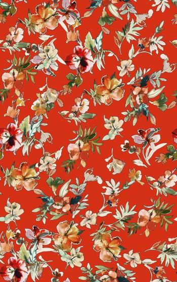 Handdrawn watercolored colorful lilies on red background