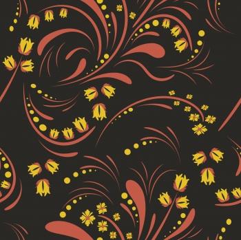 Folk floral art pattern. Flowers abstract surface design. Seamless pattern