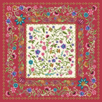 Pattern with ethnic flowers.