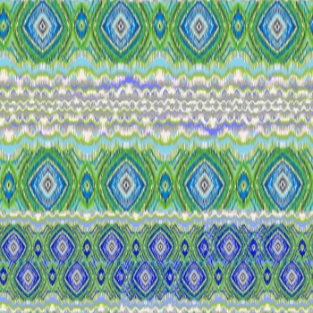 Green and Blue Ikat