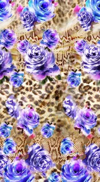 Beautiful purple roses ana wild nature animal skins.