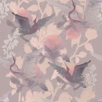 Pastel Cranes,Flowers
