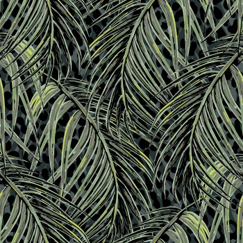 Tropical - Palm Leaves - Animal Skin - Leopard - Tonal - Green