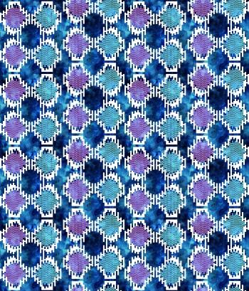 Digital motifs on watercolor surface
