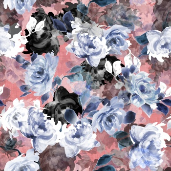 Watercolored Blue Roses