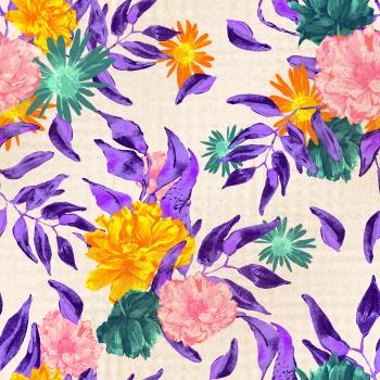 Purple Leaves and Orange Flowers