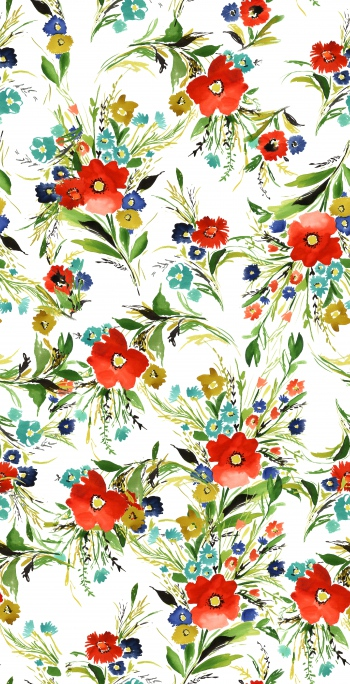 Stylised poppies and foliages