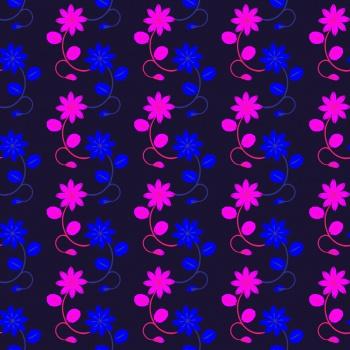 FLORAL STRIPS ON DARK BLUE