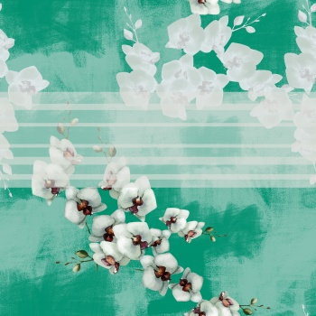 Floral Pattern -White Orchid Branch
