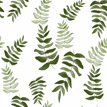 Whisper (Natural Green) Leaves Print
