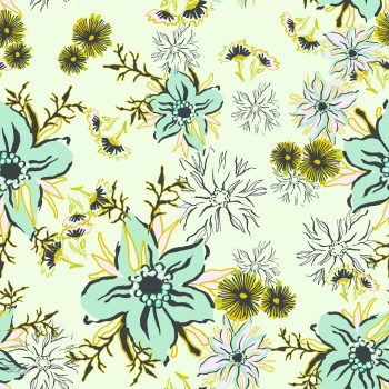 Stylised Green Flowers