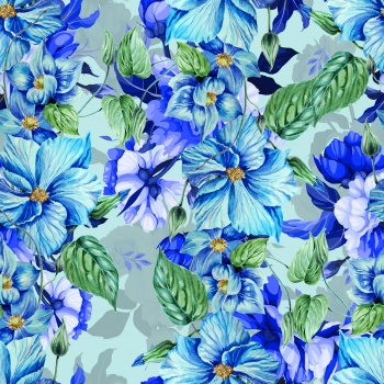 Stylised blue flowers.