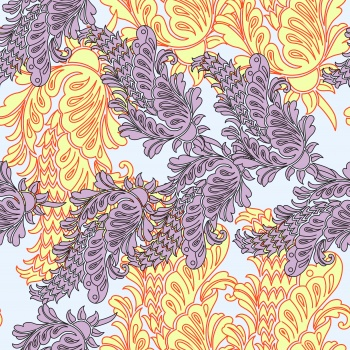 Outline Motifs in Purple and Yellow