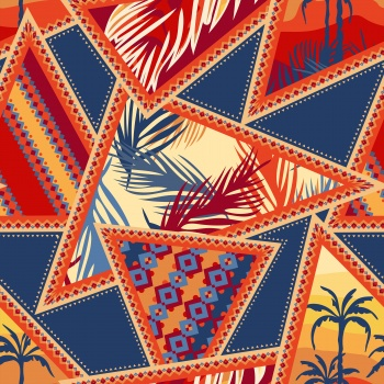 Tropical impressions. Patchwork with Floral and Geometric Elements.