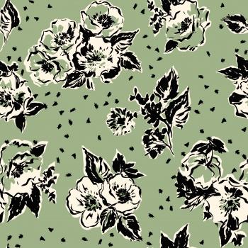 stylized ,bold seamless floral design