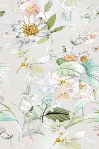 Birds, leaves, flowers