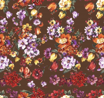 Watercolored flowers are on brown background