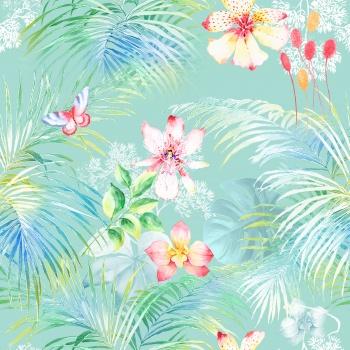 Butterflies, flowers, tropical leaves