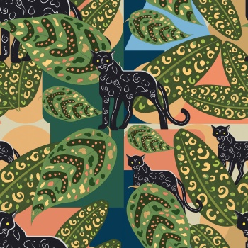 color block jungle print pattern design.