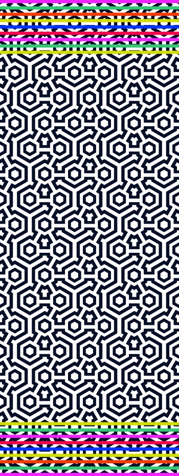Black geometric motifs and colorful stripes.