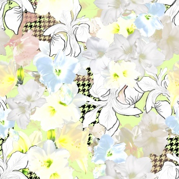 Soft Lilies and Houndstooth