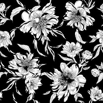 Black and White Linear Flower