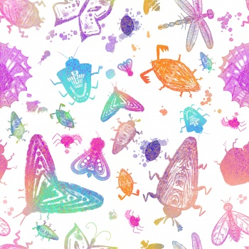 Colorful rainbow insects pattern seamless