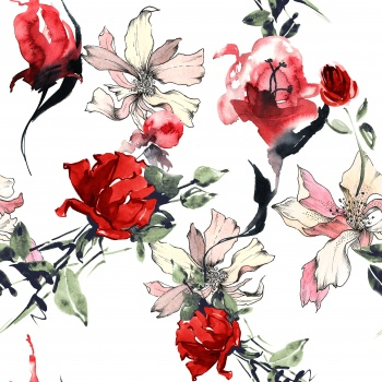 Watercolored Red Flowers