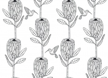 Protea & Sunbird repeat pattern #1