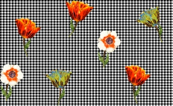 Houndstooth and Flowers