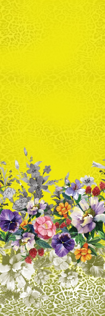 This border design consists of hand painted flowers and stylised leopard skin pattern