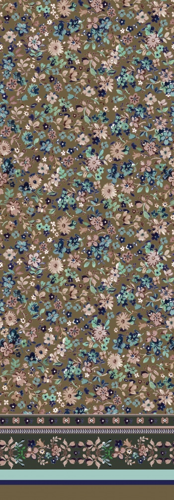 Navy and Olive Colored Watercolor Florals