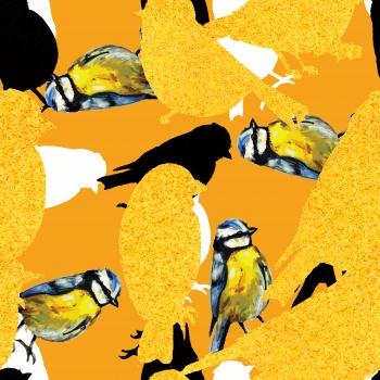 Textured Yellow Birds