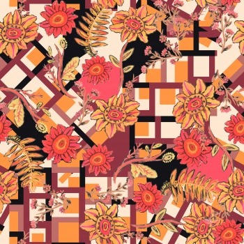 Stylised flowers and stripes.