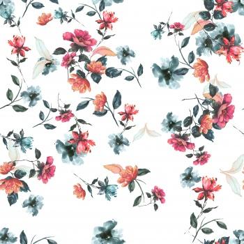 Delicte Flowers on White