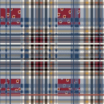 Plaid pattern with roses.