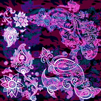 Bright and White Paisley