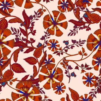 Stylised ethnic flowers in red