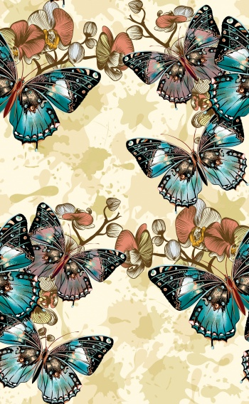Digitally created butterflies and orchids