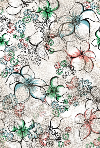 Stylised flowers with leopard pattern