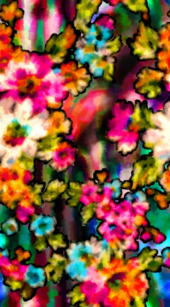 Watercolored lively flowers with strokes