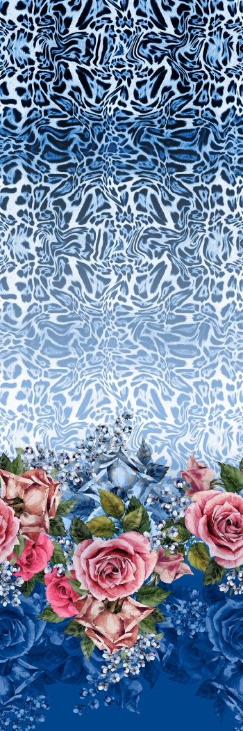 Pink roses and stylised blue leopard skin pattern