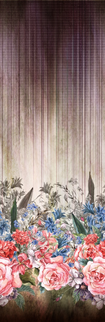 Hand-painted red roses and blue flowers with foliages are on stripes and effected surface