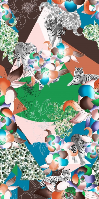 Tigers are on pastel surface