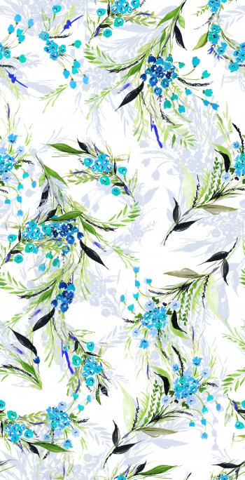 Stylised little blue flowers and foliages
