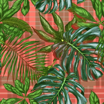 Giant Leaves on Plaids