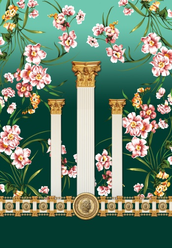 Elegant columns and gold coins.There is Julius Caesar`s portrait on conins.